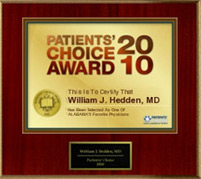 Patients' Choice Award 2010, William J. Hedden, MD