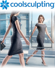 CoolSculpting - woman looking in mirror