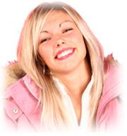 Cosmetic surgery model in winter coat